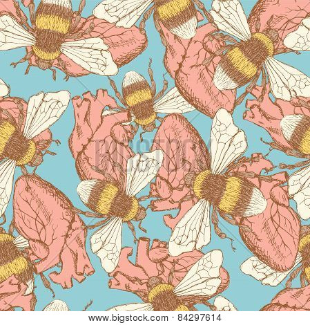 Sketch Bee And Heart  In Vintage Style