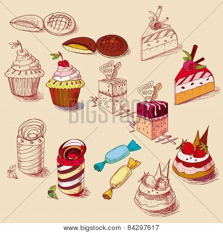hand drawn confections dessert pastry bakery products cupcake cookie muffin