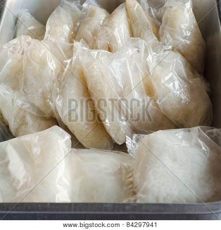 Sticky Rice Pack In Plastic Wrap