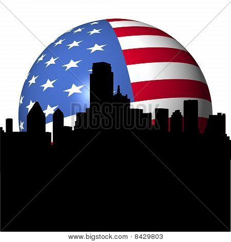 Dallas Skyline With Flag Sphere