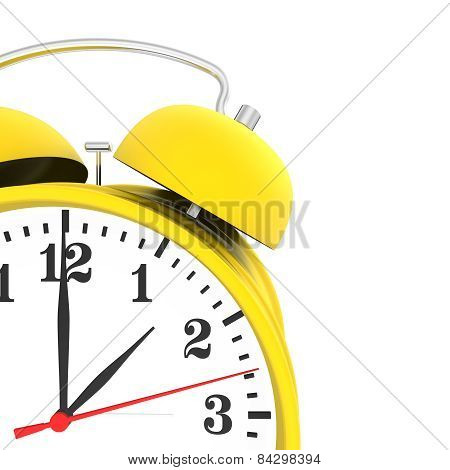yellow alarm clock isolated on white background. 3d render