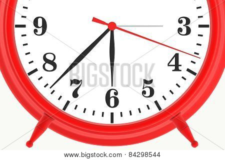 red blank botton alarm clock