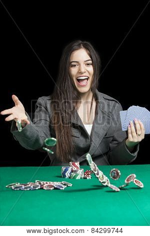 Atractive Women Playing Blackjack At Casino