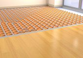 image of floor heating  - one room with a floor heating system  - JPG