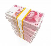 image of yuan  - Stacks of Chinese Yuan Banknotes isolated on white background - JPG