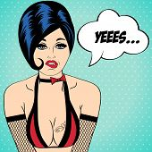 foto of kinky  - sexy woman in comic style xxx vector illustration - JPG