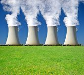 foto of reactor  - Smoking four chimneys of nuclear power plant - JPG