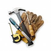 image of chisel  - Leather working gloves with carpentry tools including a claw hammer tape measure chisel and screwdriver in a construction woodworking or DIY concept - JPG