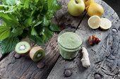 foto of nettle  - shake nettles with kiwi apples and ginger detox drink for a vegetarian diet - JPG