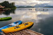 pic of kayak  - Colorful Kayak on the lake at sunset time - JPG