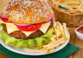 ������, ������: Hamburger with French fries