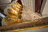 foto of reign  - The foot print of Shwethalyaung reclining buddha Bago Myanmar - JPG