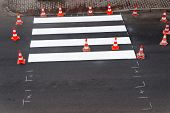image of pedestrian crossing  - making of a new pedestrian crossing on the road - JPG