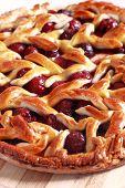 image of cherry pie  - Delicious homemade cherry pie with a lattice - JPG