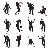 foto of zombie  - Vector Zombie silhouettes set on white background - JPG