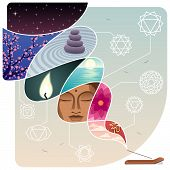 stock photo of peace  - Conceptual illustration for relaxation and inner peace - JPG