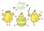 picture of chicken  - Happy easter greeting card - JPG