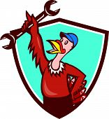 stock photo of wild turkey  - Illustration of a wild turkey mechanic holding spanner set inside shield crest done in cartoon style on isolated background - JPG