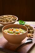 picture of vegetable soup  - Bowl of traditional Bolivian Sopa de Mani  - JPG