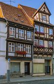 Постер, плакат: The Street With Half timbered Houses In Quedlinburg Germany