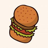 image of high calorie foods  - Fast Food Hamburger Flat Icon Elements - JPG