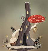 picture of surrealism  - Surreal butterflies house with mushroom - JPG