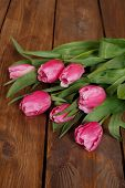 Постер, плакат: Bouquet of beautiful pink tulips on an old wooden floor