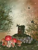 stock photo of fairy-mushroom  - Fantasy landscape in the garden with big mushroom - JPG