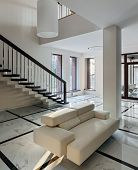 picture of staircases  - Luxury hall with big windows and staircase in modern style - JPG