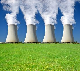 pic of reactor  - Smoking four chimneys of nuclear power plant - JPG