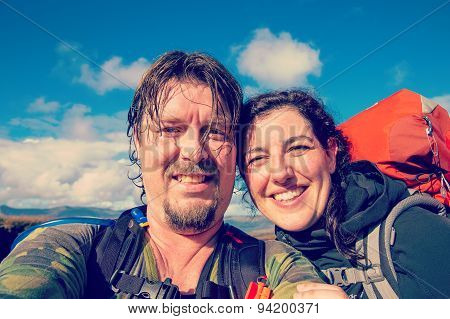 Selfie Of Hiking Couple In The Outdoors
