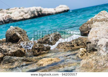 Crystal Clear Waters And Sandstone Rocks Of The Mediterranean Sea, Cyprus