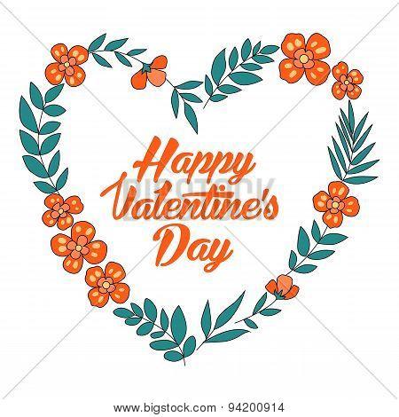 Happy Valentines Day floral heart card. Vintage wedding invitation. Summer bright background.