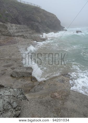Cliff And Beach Seascape