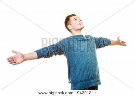 Happy Man Successful Lad With Arms Raised