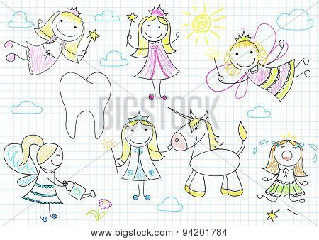 Vector collection of happy little fairies. Sketch on notebook page