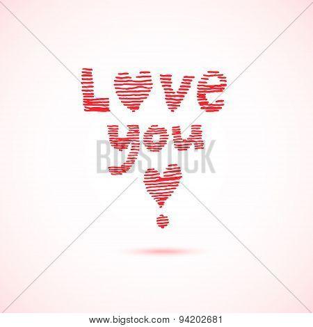 Striped inscription love you