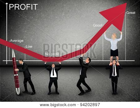 Business team push Profit graphic arrow up