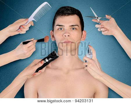 Young man portrait with many hands for beauty treatment