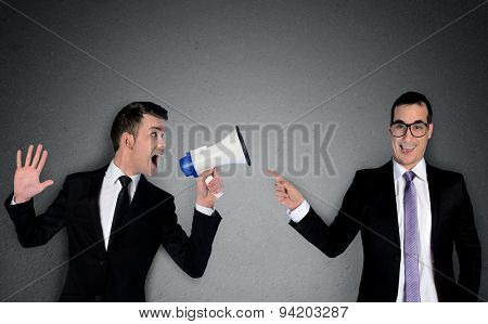 Business man laugh at announcement