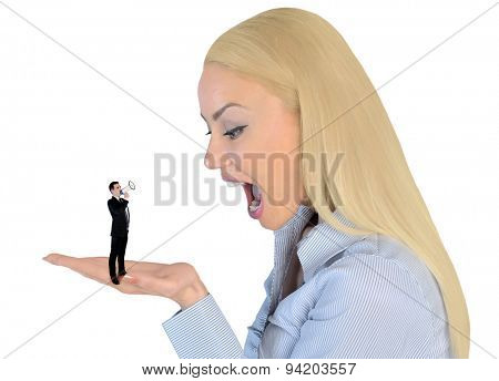 Isolated business woman looking surprised on little man