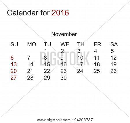 Vector modern calendar for 2016