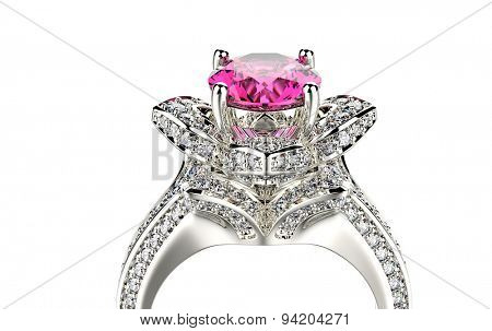 Ring with ruby. Jewelry background