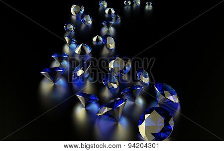 Jewelry diamond collection on dark  background. Sapphire