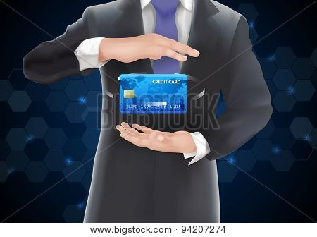Businessman in black costume and purple necktie put credit card in center position