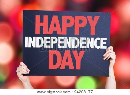 Happy Independence Day card with bokeh background