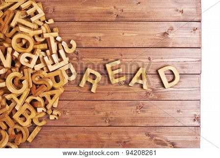 Word read made with wooden letters