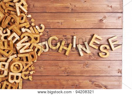 Word chinese made with wooden letters