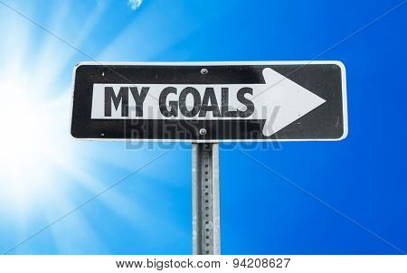 My Goals direction sign with a beautiful day
