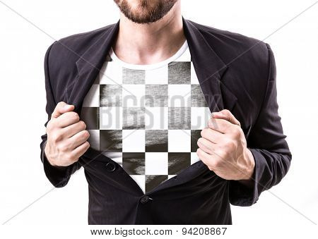 Businessman stretching suit with checkered flag on white background